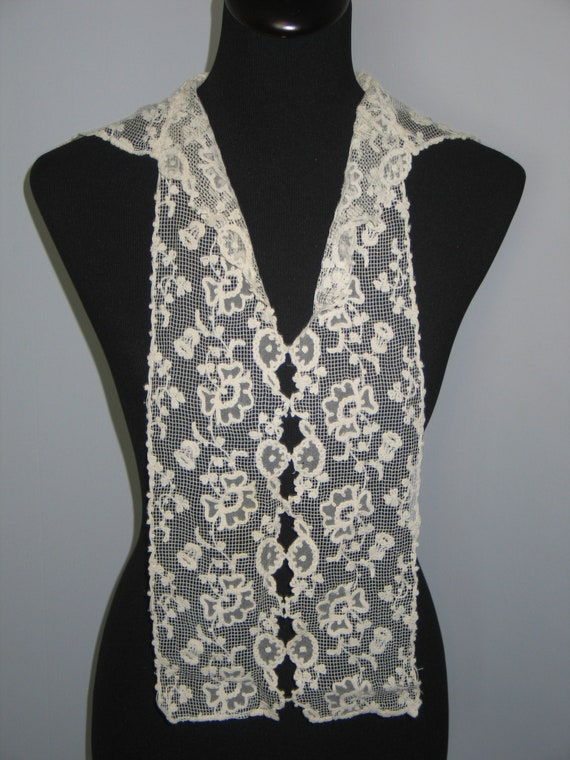 Antique Lace Collar / Embroidered Net Valencienne… - image 1