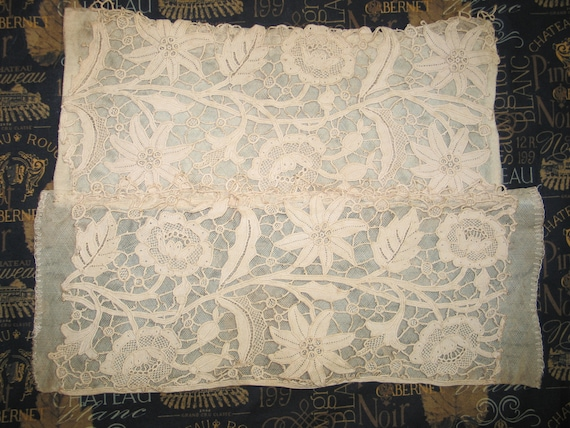 Antique Gros Point Lace  18th century Lace  19th Century Lace  Antique Lace Panel  Hand Made Lace  Venetian Lace Hard To Find  Unique