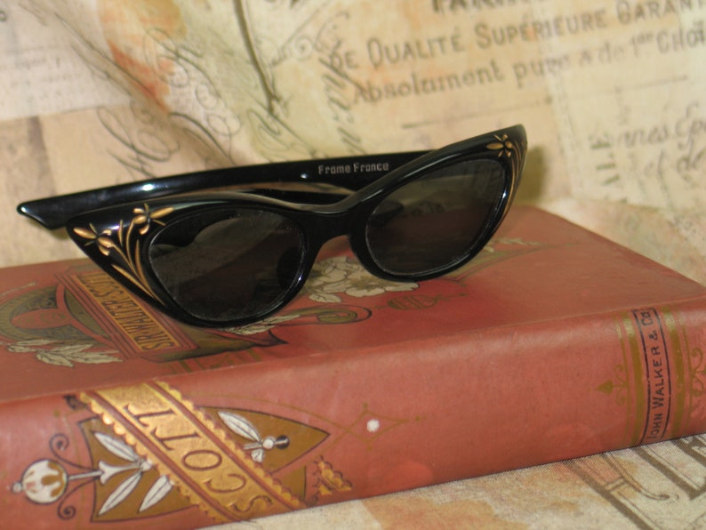 f7faabd90f1 French Vintage Cat Eye Eyeglasses Sunglasses 1950s Mid Century