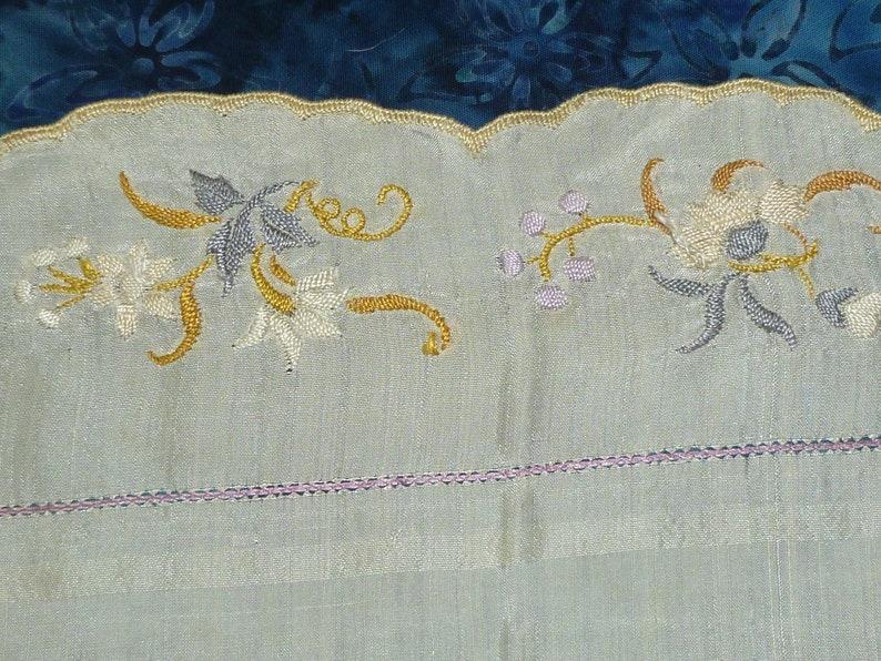 Antique Royal Society Silk Hanky Vintage Hanky  Hand Embroidery  Handkerchief Hankie  1800s 1900s Victorian
