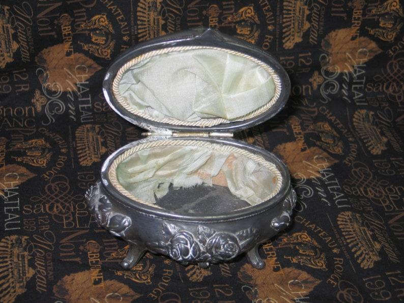Antique Silverplate Metal Jewelry Casket Trinket Box Original Silk Lining Art Nouveau early 1900s Victorian Embossed Florals