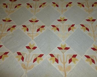 Primitive Antique Quilt Top 1900s Carolina Lily Vintage Hand Piece Applique red yellow