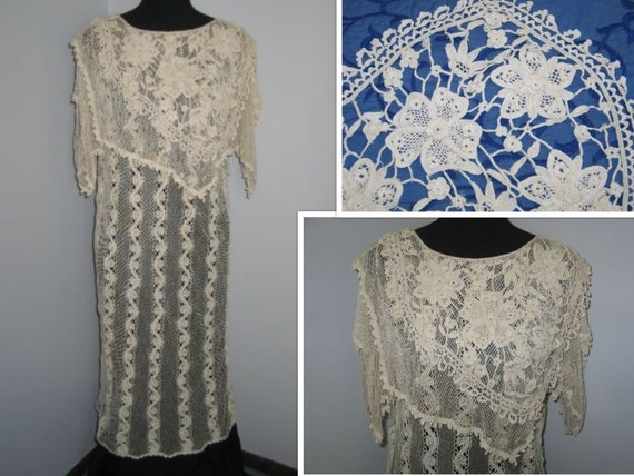 Antique Edwardian Lace Dress / Antique Irish Croch