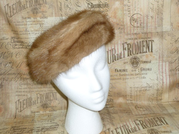 """Classic Chic Pill Box Hat Vintage Mink """"Jackie O"""""""