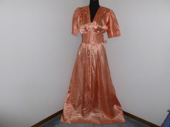 Vintage Dress 1940s Dress Liquid Satin Debutante~P