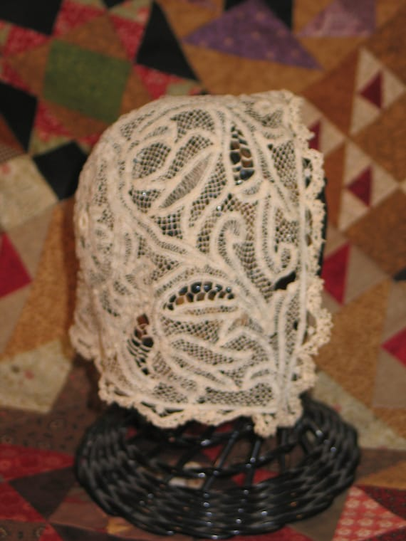 Baby Bonnet-circa 1800s French Antique Mixed Lace