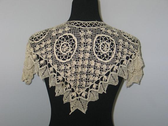 Antique Lace Shawl-Antique Silk/Cotton Lace Collar