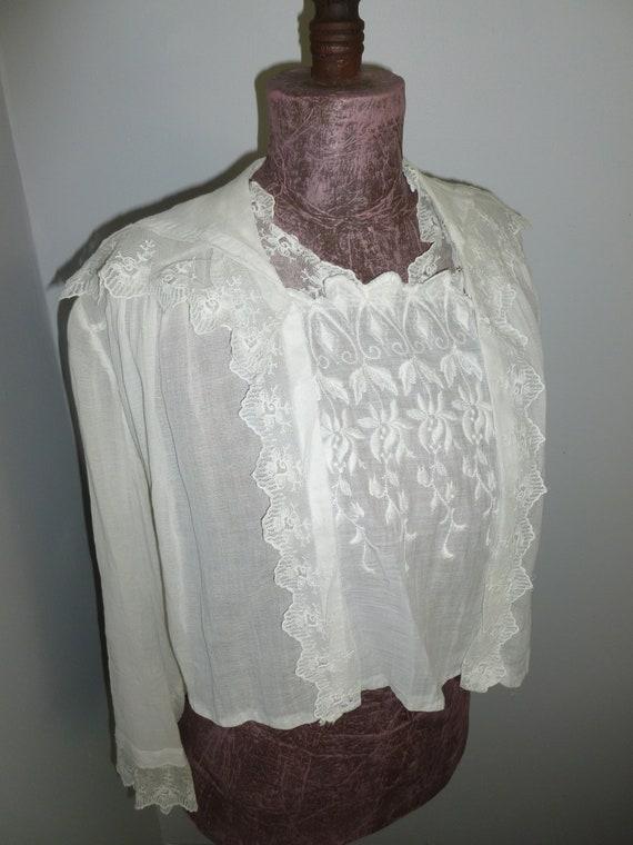 Romantic Antique Edwardian Blouse~Vintage Embroide