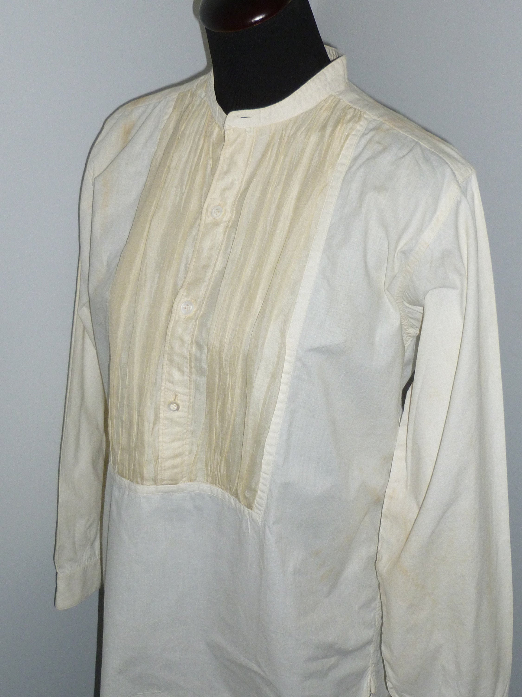 New 1930s Mens Fashion Ties Antique Edwardian 1920S 1930S Mens Tuxedo Shirt White Silk Panel Bib French Cuff $0.00 AT vintagedancer.com