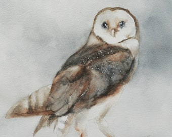 Watercolor painting of a barn owl PRINT owl Painting of owl. Halloween decor. Large barn owl painting.  Harry potter owl painting