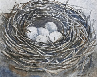 Watercolor Painting of bird nest. Bird Nest painting. Watercolor nest painting. NEST Art print.  NEST PRINT of nest with eggs 5