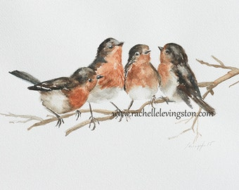 gift mom for her for grandma bird painting of bird Print bird art PRINT bird PRINT watercolour painting cottage chic modern minimalist