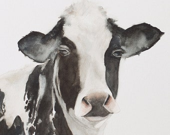 Painting of holstein cow in watercolor.  Watercolor cow painting watercolor. Cow print. cow ATC Small Trading Card YOU PICK black and white