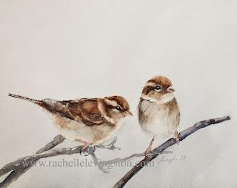 Watercolor painting of 2 birds. Sparrow bird painting of bird. Bird art print bird ATC SMALL Artist Trading Card You PICK