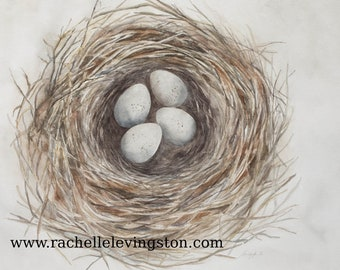 Watercolor Painting of bird nest with 4 eggs. Bird Nest painting. ATC of a nest painting. NEST Art print. Artist Trading Card You PICK