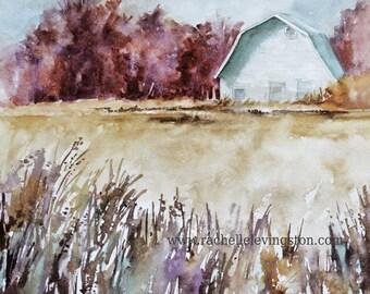 watercolor landscape painting landscape watercolor red barn painting barn landscape art print landscape print farm 11x14 traditional Large