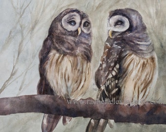 Watercolor OWL painting OWL print. Painting of two owls. Hoot owls painting. Print of owls. Gift for bird lover. Barn owl print set