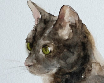 Halloween cat painting. Art print of cat painting with green eyes. Brown cat PRINT small halloween decoration. 5x7 small cat painting