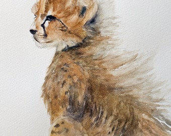 for him Watercolor animal painting. Painting of baby Cheetah painting. Print of Cheetah art print ATC Small Artist Trading Card YOU PICK