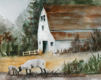 painting of sheep by farm Watercolor painting of Lamb Print of lamb art PRINT. Lamb painting of lamb. Barn white watercolour Autumn