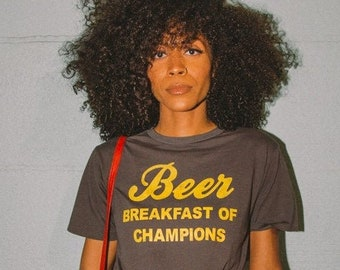 Beer Breakfast of Champions t-shirt- womens-unisex- beer tee- vintage inspired- graphic tee- 70s- 80s- made in usa- cotton- vintage black