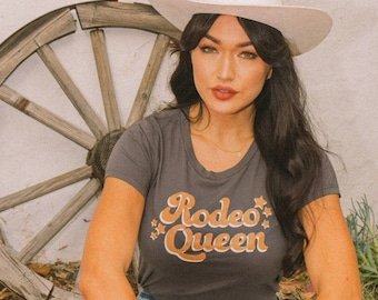 Rodeo Queen Vintage Inspired Womens Fitted Graphic Tee Western Style T-shirt Made in USA