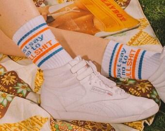 Just say no to Bullshit socks- vintage inspired tube socks- 70s 80s socks- retro socks- womens