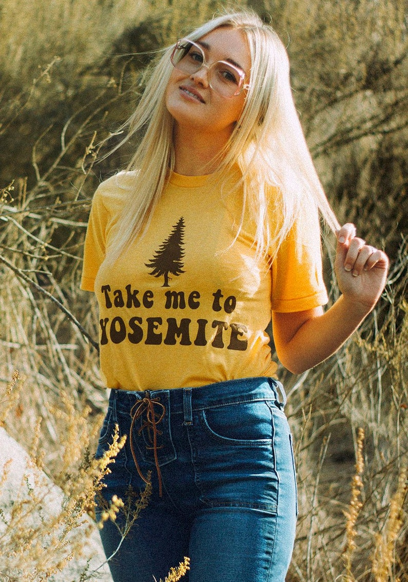 a821dadbb7b Take me to Yosemite womens tshirt vintage inspired-70s