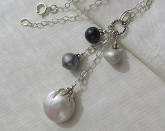 d27af3e41 multi-color baroque pearl pendant necklace, white biwa gray black pearl Y- necklace, 925 Sterling Silver, cultured Freshwater pearls, unique