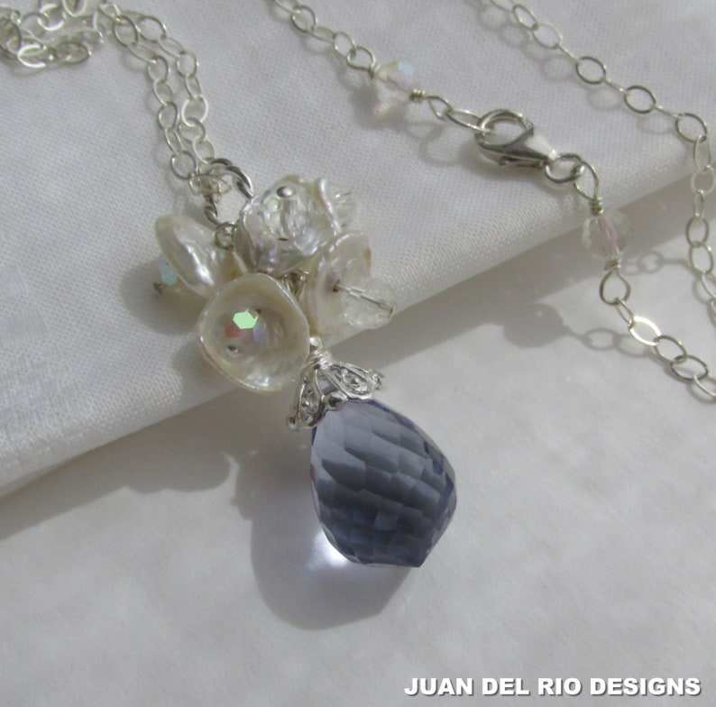 cluster pendant freshwater pearls sparkly ! Amethyst Quartz Keshi Pearl Crystal necklace 925 Sterling Silver Aurora Borealis crystals