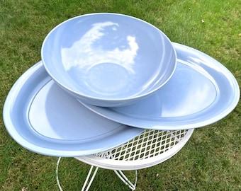 Vintage Texas Ware LARGE Serving Bowl & Platters Set Melmac Melamine