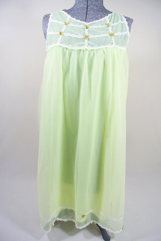 Vintage Dorsay Neon Yellow Green Peignoir Chiffon Night Gown Nylon Montexo Baby Doll Sheer Small
