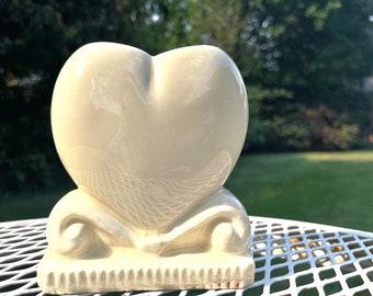 Vintage Art Deco Pottery Heart Planter Narrow Vase Ivory Cream Flower Pot