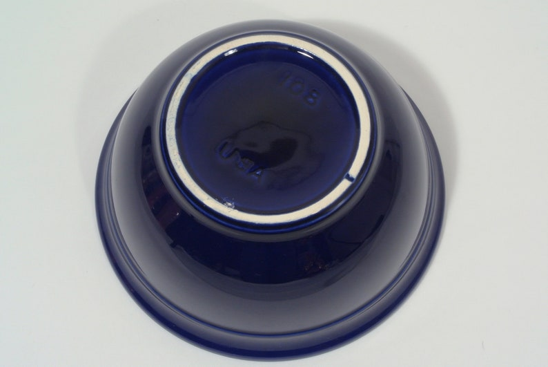 RARE Vtg USA Pottery Cobalt Blue Mixing Bowl #108 Stoneware Yellow Ware Farmhouse