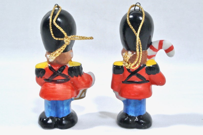 Vintage Christmas Ceramic Toy Soldier Ornament Pair Kitsch Cute 1950s Taiwan