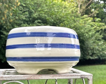 Vintage USA Pottery White Planter Hand Painted Blue Stripes Footed Flower Pot MCM