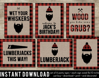 Lumberjack Party Signs, Lumberjack Party Decor, Lumberjack Party Supplies, Lumberjack Birthday Decorations, Bead Party Signs, T11