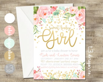 Gold Confetti Baby Shower Invitation, girl baby shower invitation, girl baby shower invite, blush pink & gold glitter invite, watercolor T20