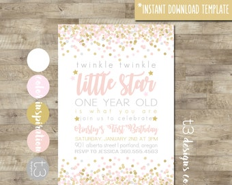 Instant Download Twinkle Twinkle Little Star First Birthday Invitation, girl first birthday invitation, Pink and Gold Invitation, DIY PDF T9