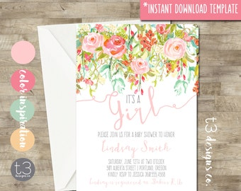 Instant Download Whimsical Baby Girl Shower Invitation, baby shower invite, floral baby shower, watercolor, soft pink, DIY PDF