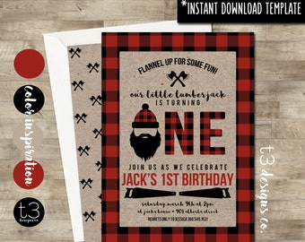 Instant Download Lumberjack First Birthday Invitation DIY PDF Buffalo Plaid Invite Wilderness Beard T11