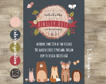 Woodland Friends Birthday Invitation, forest animal birthday invitation, forest friends, woodland animals, fox, deer, bear, woodland girl