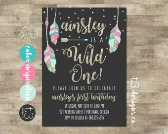 Wild ONE Birthday Invitation, Wild One Birthday Invite, BOHO Birthday invite, gold glitter invitation, Pink and Gold Party, First Birthday