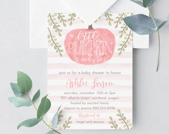 Girl Little Pumpkin Baby Shower Invitation, girl baby shower invite, pumpkin baby shower invite, fall baby shower, pumpkin invites, 14727