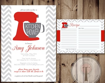 bridal shower invitation and recipe card etsy