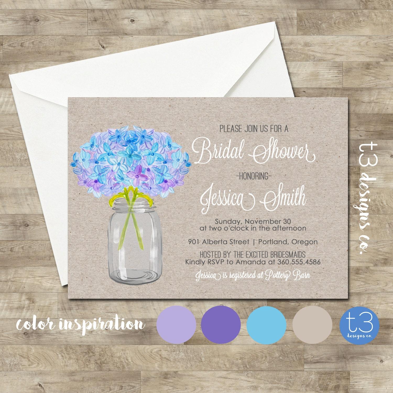hydrangea bridal shower invitation bridal shower invitation wedding shower invite rustichydrangeas mason jar shabby chic