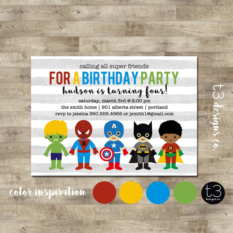 SUPERHERO Birthday Invitation (BIRTHDAY INVITATION) super hero ...