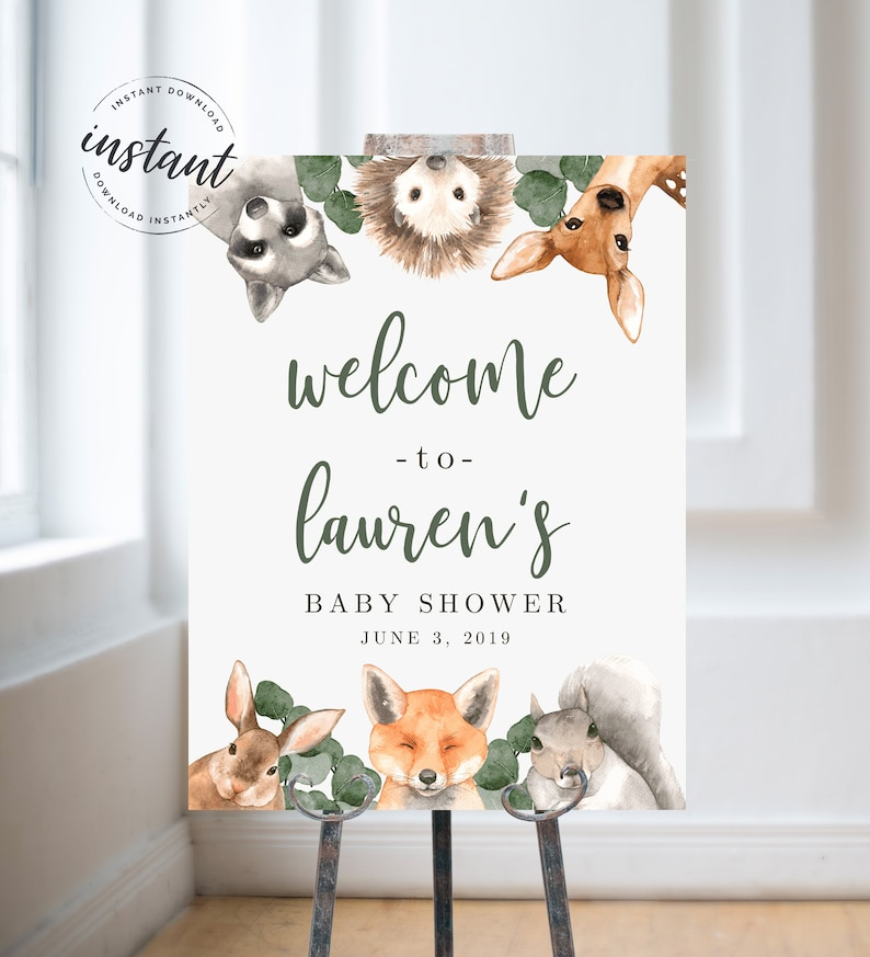 Editable Woodland Welcome Sign Woodland Baby Shower Welcome image 0