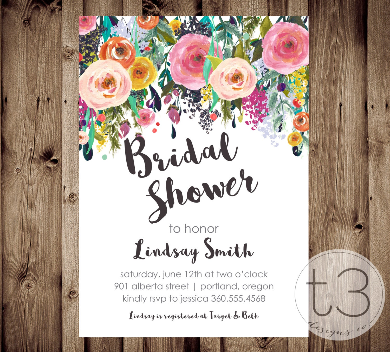 Whimsical Bridal Shower Invitation, Bridal Shower Invitation ...