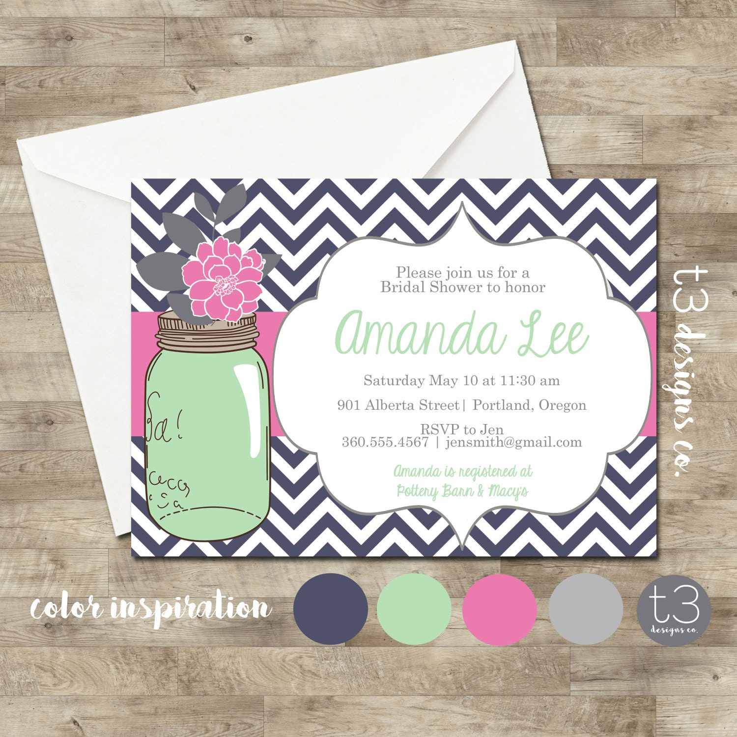 mason jar invitation bridal shower invitation wedding shower mason jars chalkboard invite invitation chevron peonies invite
